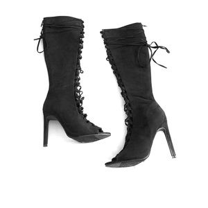 Forever 21 Black Lace Up Boots Size 6